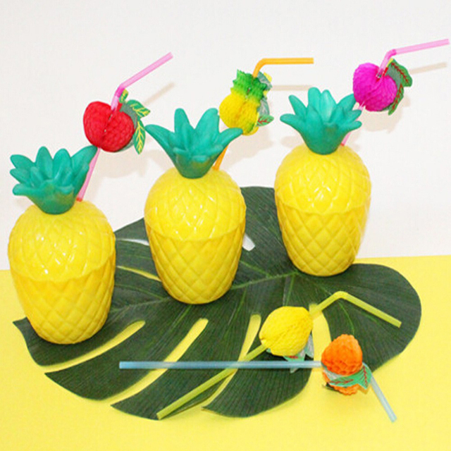 bosheg 6 pcs pineapple coconut cups christmas pool floats copo abacaxi for hawaii birthday party decoration