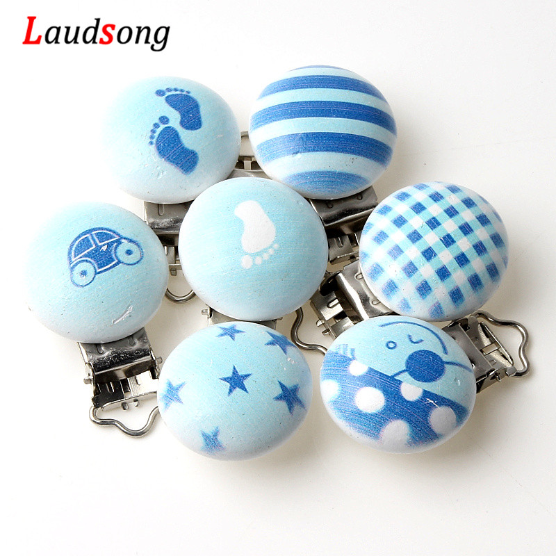 Cute Blue Metal Wood Pacifier Clips For Baby Infant Soother Clasps Teethers Holders Accessories 5Pcs
