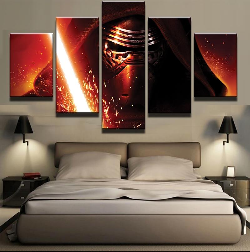 Star Home Decor Wall Art ~ Pieces movie star wars darth vader lightsaber modern