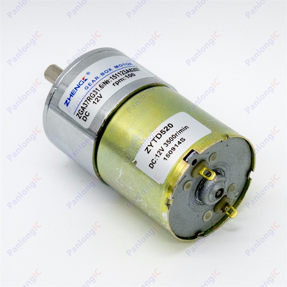 ZGA37RG 12V DC 100 RPM Gear Box Motor 1/34.5 High Torque 3500r/min Reversible Motor 2pcs 12v 60 rpm 60rpm high torque gear box dc motor
