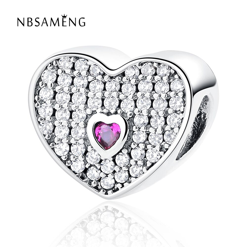 Authentic 925 Sterling Silver Bead Charm Heart Shape Beads
