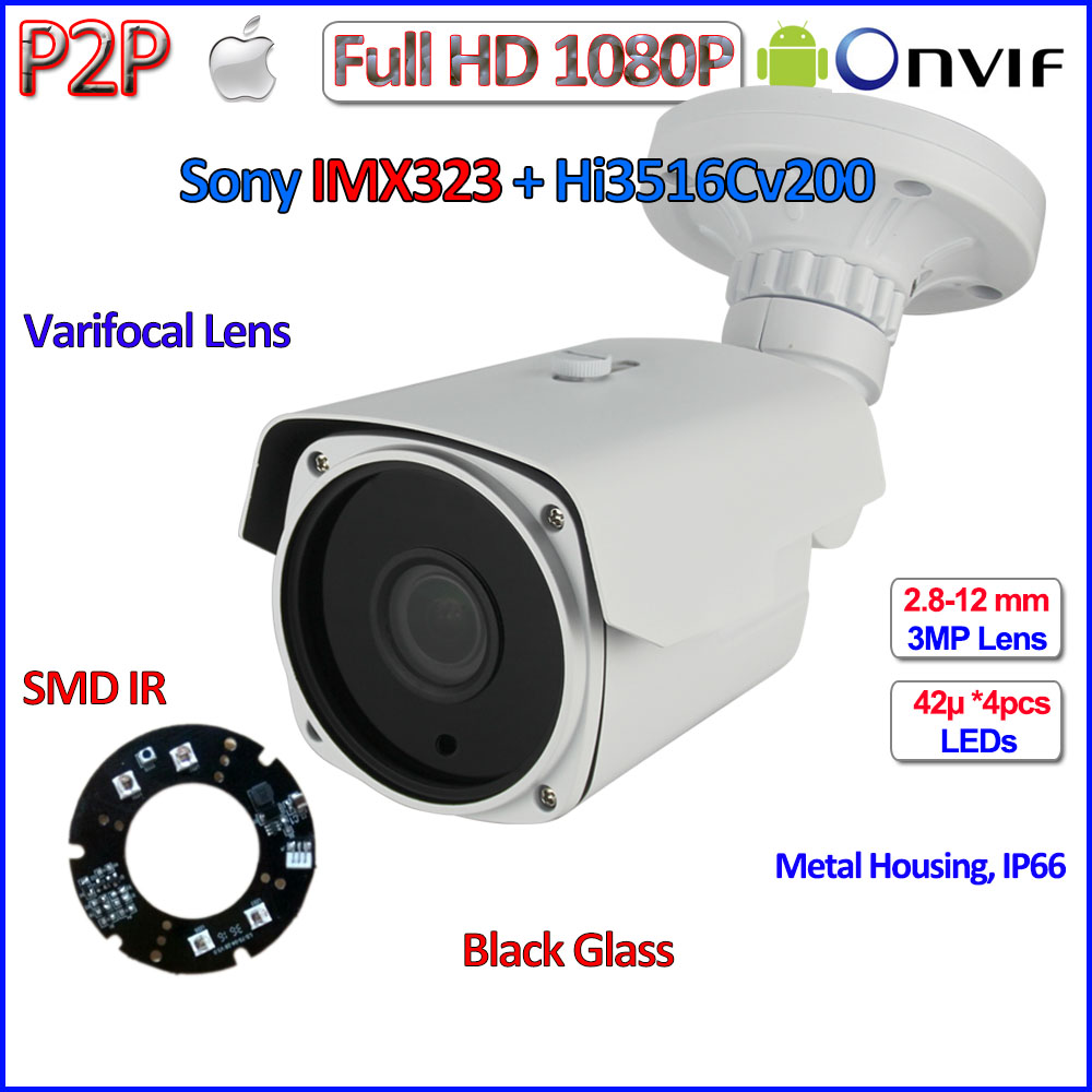 ONVIF ip camera 1080p CCTV IMX323 POE 2MP ip camera waterproof surveillance, 2.8-12mm Lens, SMD IR LED, P2P, H.264, with bracket ds 2cd4026fwd a english version 2mp ultra low light smart cctv ip camera poe auto back focus without lens h 264