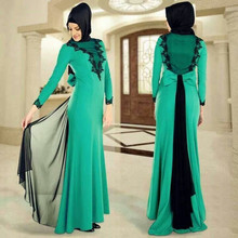 New Long Sleeve Green-and-Black A-Line Muslim Evening Dresses With Free Hijab Chiffon Floor-Length Muslim Evening Dresses