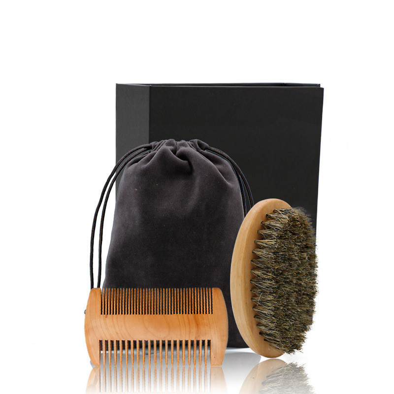 New Men's Special Wild Boar Bristle Oval Beard Brush Comb Set  Comb Plus Elliptical Beard Brushes Care Set Comb Beard Tool