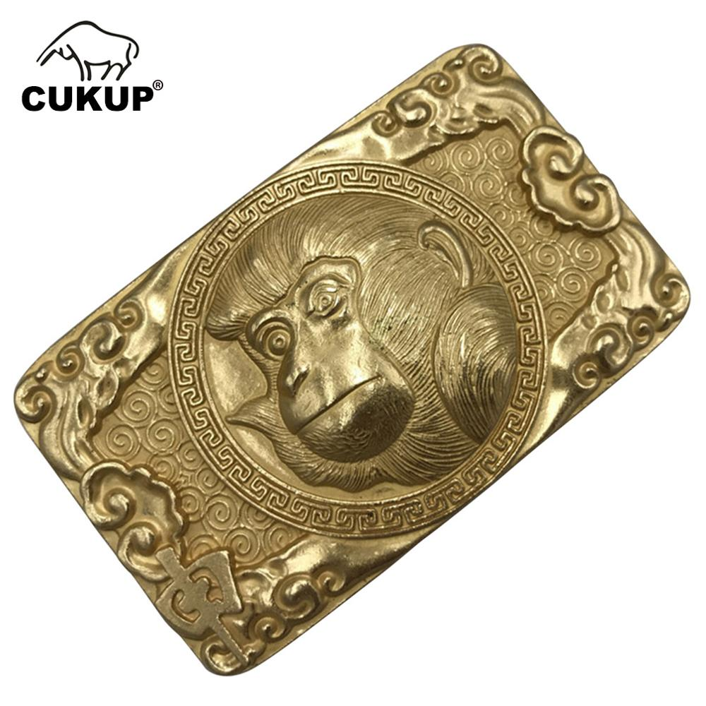 CUKUP New Design Animals Pattern Chinese Zodiac Brass Metal Buckle Cowboy Styles Solid Copper Belt Buckles for Men 2018 BRK041