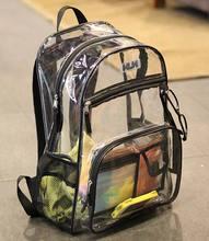 Stylish Waterproof Transparent PVC Backpacks Korean Men Beach Bag Female Student Backpack Women bolsas femininas couro mochila