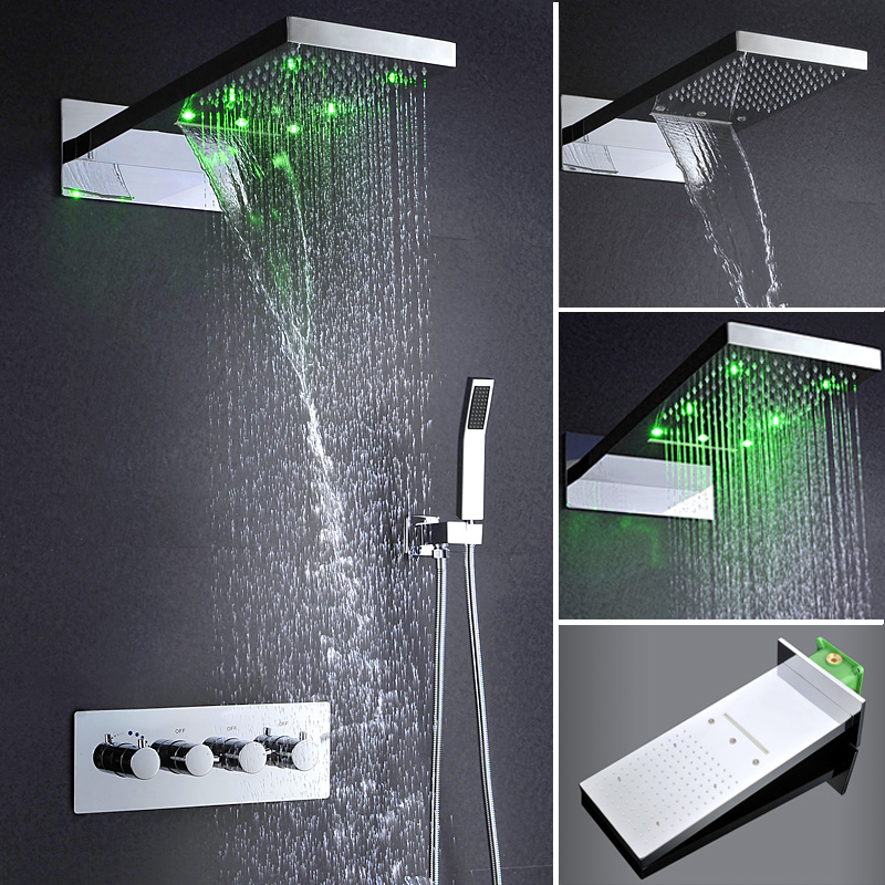 Hot Stainless Steel Water Temperature Control Led Color Shower Head Rainfall Waterfall Shower Head Set  Morden Shower Faucets sticker