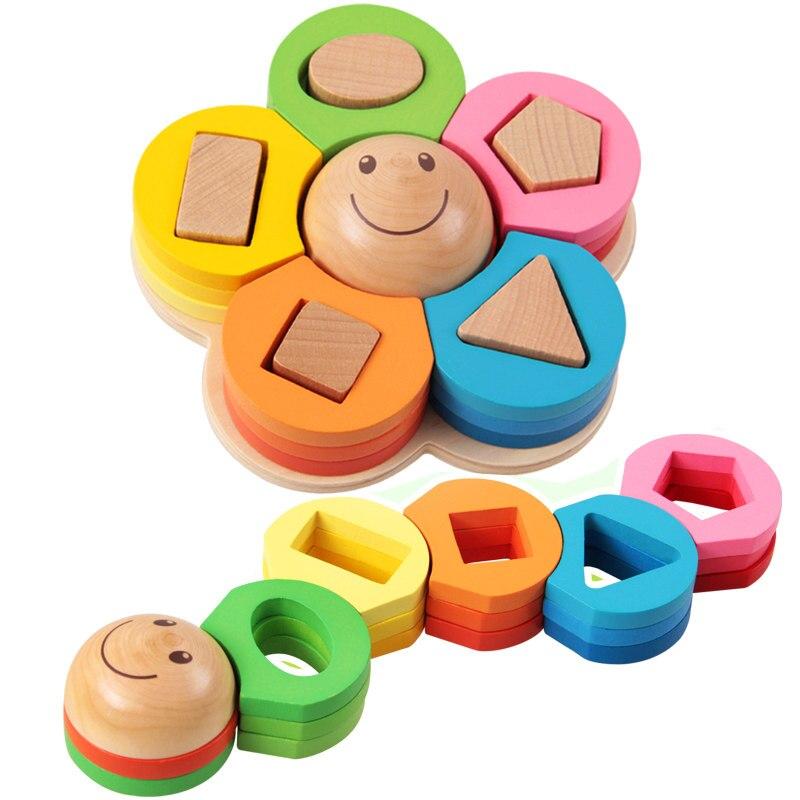 Fleur géométrique empileur nidification forme tri conseil 3D Puzzle éducation apprentissage jouets en bois pour enfants fille cadeau