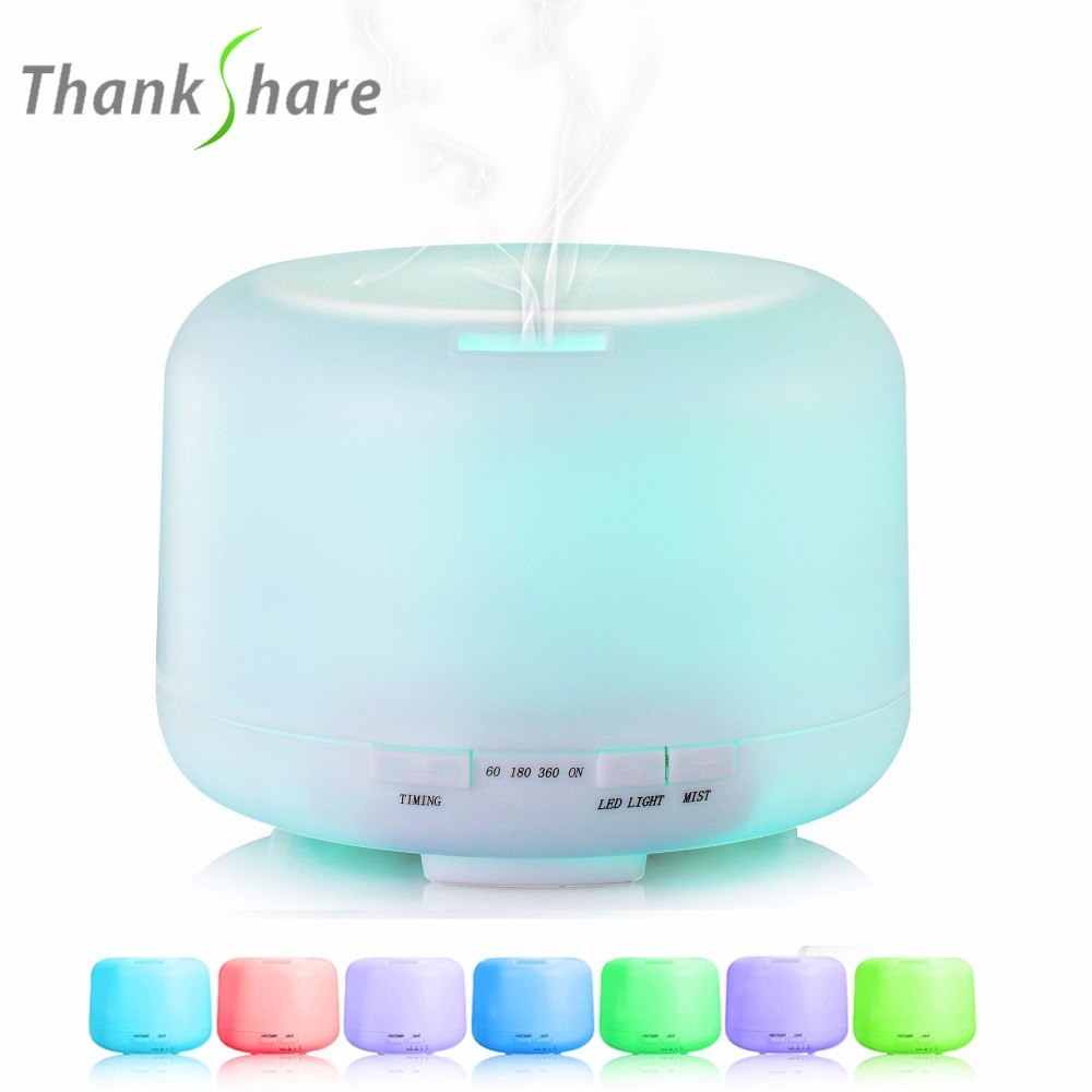 все цены на 500ml Ultrasonic Air Humidifier Aroma Diffuser 7 Color LED Lights Electric Aromatherapy Essential Oil Aroma Diffuser Mist Maker в интернете
