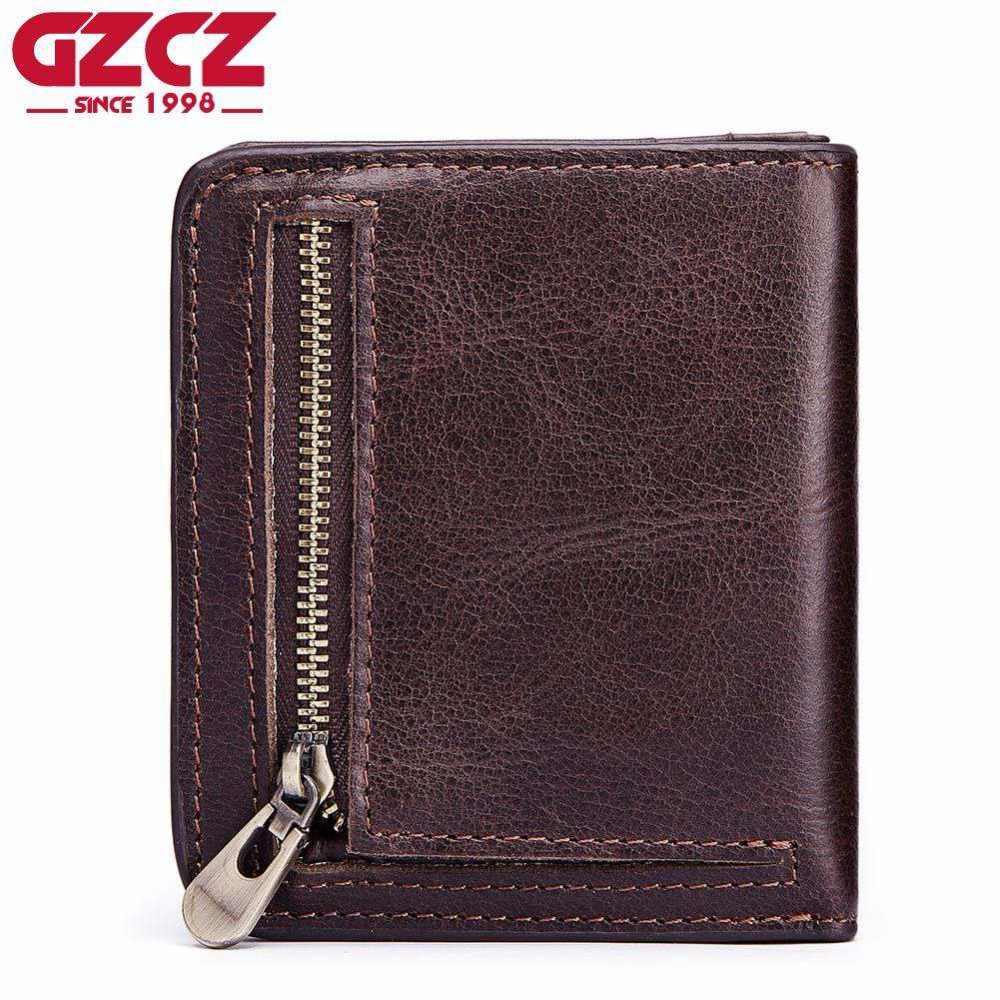 GZCZ الرجال Bifold محفظة محفظة رجل لينة جلد طبيعي Walet مع عملة حقيبة فتحات متعددة الوظائف سستة محفظة جودة عالية 2018 جديد