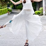 Women-Chiffon-Pants-Thin-Loose-Casual-Pleated-Full-Length-Summer-Trousers-Embroidery-Floral-Black-White-Elastic