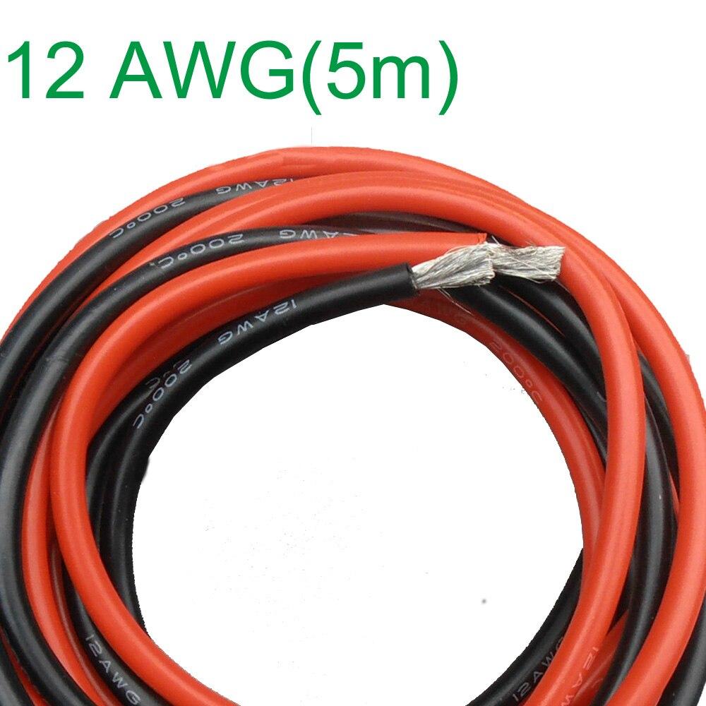 Neue 12 AWG (5 mt) Gauge Silikon Draht Flexible Litze Kupfer Kabel ...