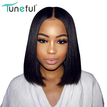 Bob Wig Brazilian Remy Human Hair Bob Wigs 13x4 130% Density Natural Hairline Bleached Knots Glueless Lace Front Human Hair Wigs