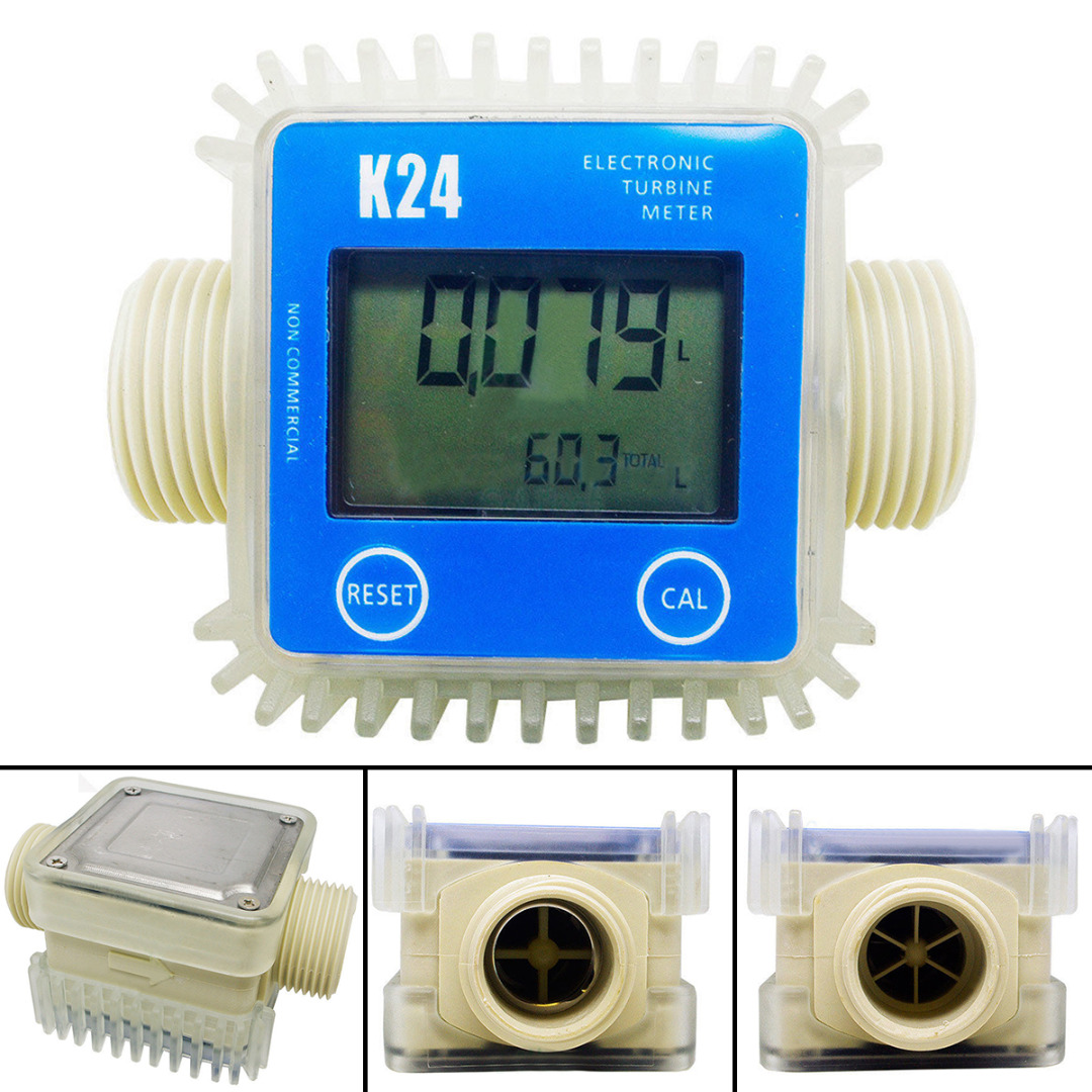 1pcs Blue K24 Turbine Digital Fuel Flow Meter For Chemicals Water 2.3-3.3V new arrival pro k24 digital fuel flow meter for chemicals water random color free shipping