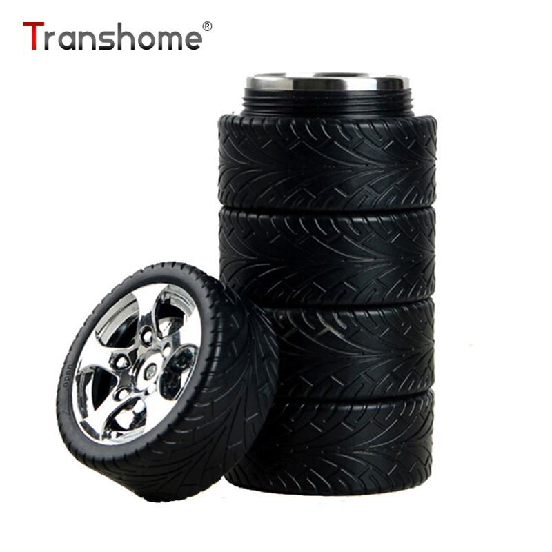 Transhome Insulated Bottle 320ml Fashion Creative Car Tire Wheels Stainless Steel Tumbler For Coffee Milk Novelty Birthday Gift