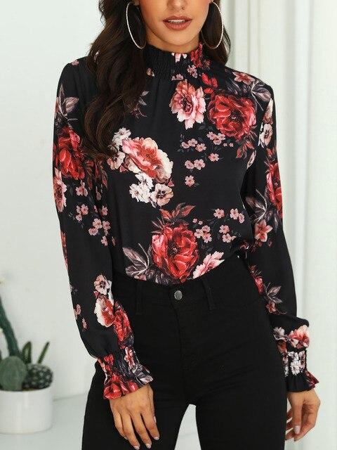 2019 Women Fashion Elegant Office Workwear Chiffon Shirt Female Elastic Cuff Top Allover Floral Print Long Sleeve Blouse