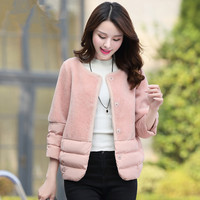 2017 Winter Jacket Women Lambs Wool Stitching Cotton Coat Short Parka Women Basic Coats Wadded Jackets