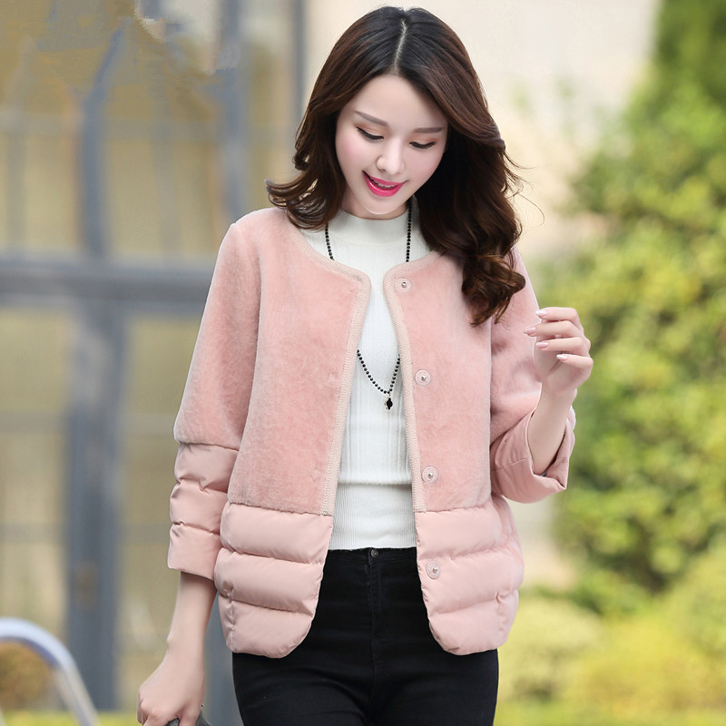 2017 Winter Jacket Women Lambs Wool Stitching Cotton Coat Short Parka Women Basic Coats Wadded Jackets Overcoat Jaquetas C3498 factory outlets 2014 new winter in europe and america women british style stitching cotton quilted jacket short parkas coat