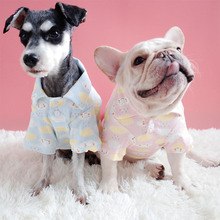Купить с кэшбэком Cute Dog Clothes for Small Dogs Cotton Shirt for French Bulldog Chihuahua Coat Puppy Jacket Cloud Print Pajamas for Pet Cat XXL