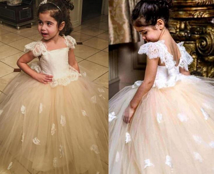 2018 Communion   Dresses   Ball Gown   Flower     Girl     Dresses   Appliques Tulle Long Kids Evening Gowns For Weddings Puffy Formal M2481