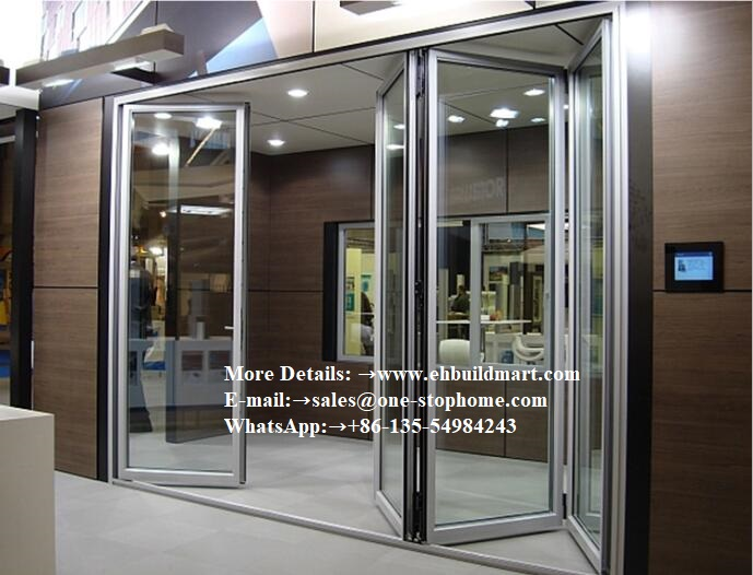 Aluminum Insulated Concertina Folding Storm Door, Sliding Interior Door Movable Sound Proof Folding Doors Used In Commercial