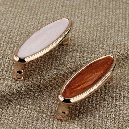 76mm modern fashion deluxe furniture decoration hardware handle 3 rose gold drawer cabinet pulls knobs amber resin dresser knob