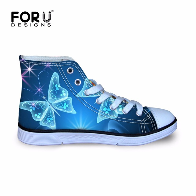 FORUDESIGNS Azul Mariposa Niñas Caminando Deporte Zapatillas de deporte de Los Niños de Kindergarten Kawaii High Top Lace Up Zapatos Planos de Monster High