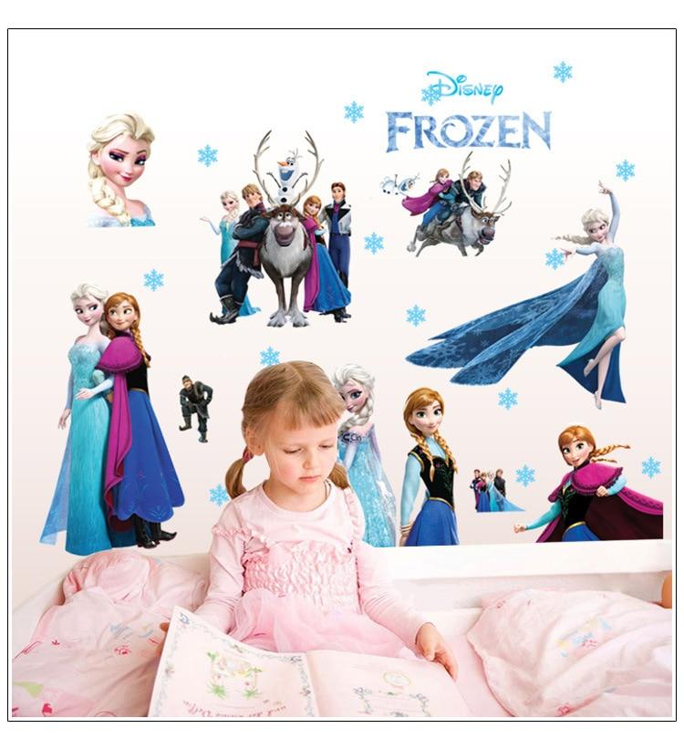 Hot Disney Kids DIY Sticker Frozen Elsa Aisha Princess Puzzle Children's Room Decoration Kindergarten Stickers Cartoon Pegatinas