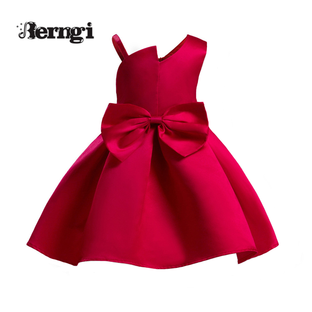 Berngi Wine Red Girl Princess Dress Sling asymmetry Bowknot Sashes Important Party Performance Show Kids dress