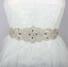 New Luxury Europe Style Rhinestones Bridal Sashes Handmade Wedding Dress Belt Made of Beaded Trims