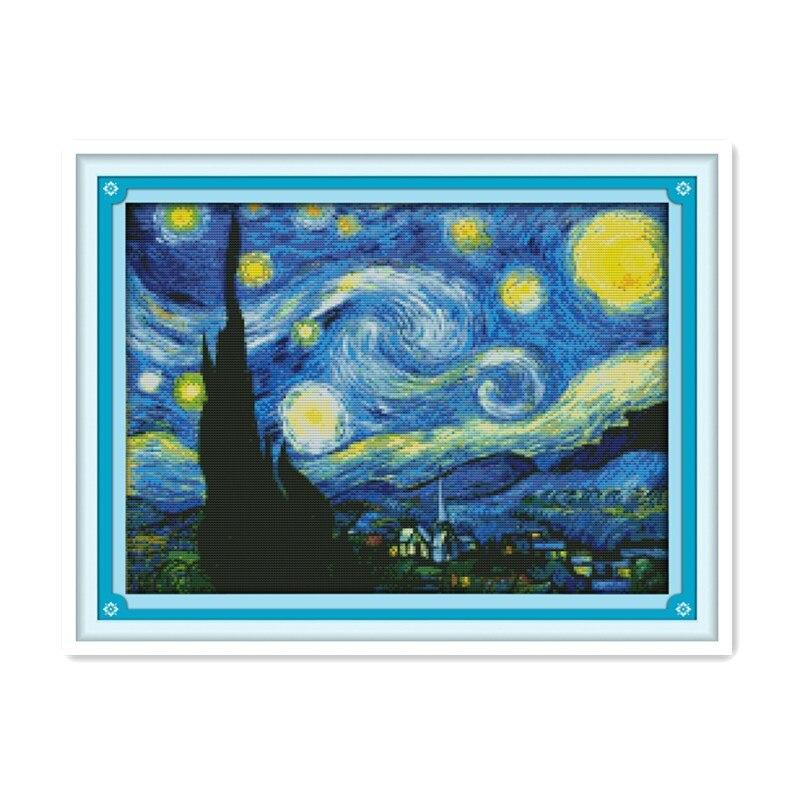 Bordado Completo Estrellada de Van Gogh noche Cross Stitch kits de Pintura Al Oleo Abstracta Arte de la Casa decoracion ...
