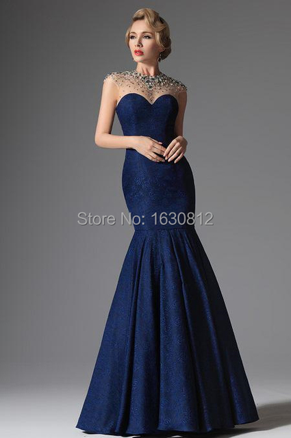 57cb579ed79 2015 Dark Blue Sexy Crystal Beaded Evening Long Formal Gowns Cap Sleeve  Mermaid Floor Length Mother Of The Brides Dress