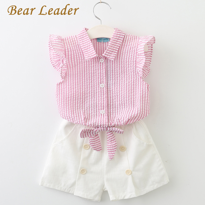 Bear Leader Girls Clothing Sets 2018 Summer Casual Kids Clothing Sets Turn-down Collar Butterfly Sleeve Shirt+Shorts 2Pcs Suits casual stripe spliced turn down collar short sleeve t shirt for men