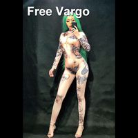 Women Naked Tattoo 3D Printing Sexy Jumpsuit Nightclub Party Bodysuit Stage Wear Dancer Singer Performance Clothing