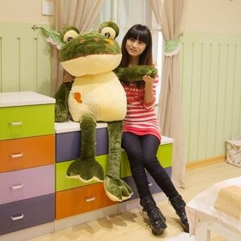 Dorimytrader Giant Soft Cartoon Frog Plush Toy Big Stuffed Animal Green Doll Pillows for Children Gift 47inch 120cm DY60188