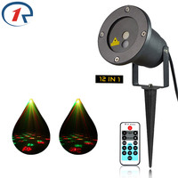 R L X12 Remotely 12 Patterns Red Green Christmas Lights Garden Laser Projector Outdoor Waterproof Xmas