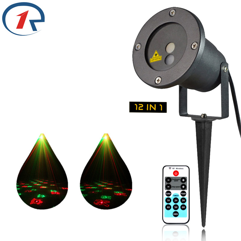 ZjRight Red Green Laser Light Outdoor Waterproof 12 kinds of dynamic Xmas patterns projector Bar DJ party decoration stage light rg mini 3 lens 24 patterns led laser projector stage lighting effect 3w blue for dj disco party club laser