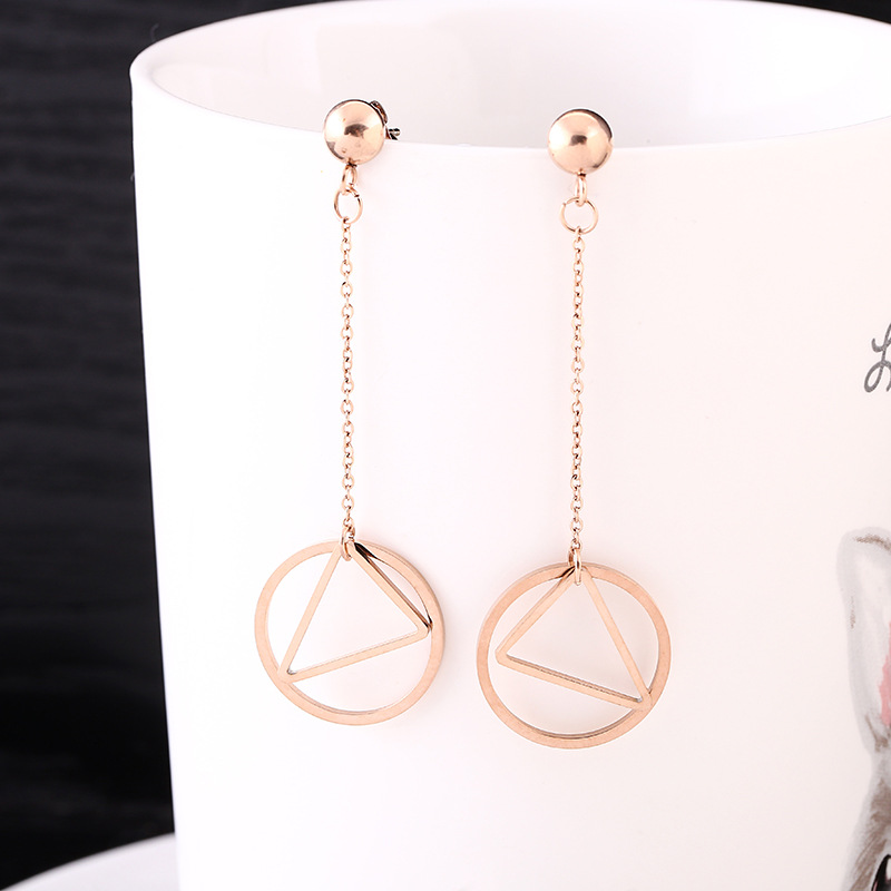 Geometric Long Circle And Triangle Asymmetric Earrings For Women Fashion Stainless Steel Drop Earrings Jewellery in Drop Earrings from Jewelry Accessories