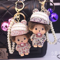 Cap Bell Monchichi Key Chain Sleutelhanger Strass Keychain Keyring Novelty Women Car Bag Purse Charm Porte Clef Fourrure M107