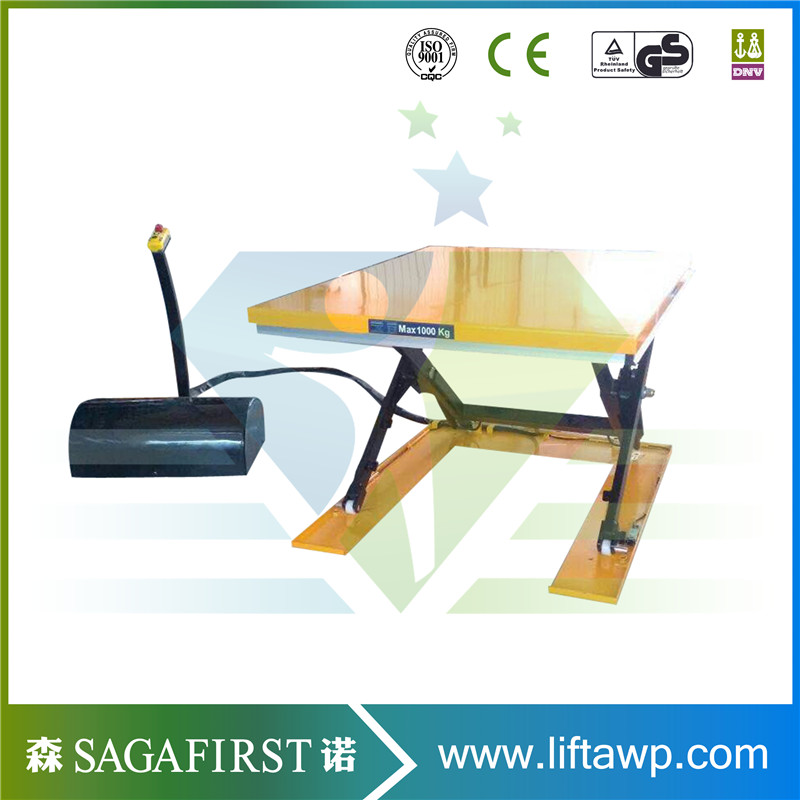 Stationary Scissor Lift Table With Remote Controller,rollers,safety Bellow,footstep Control,guard Rails,wheels