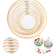 1Pc 5-34cm Wooden Handy Cross Stitch Machine Embroidery Hoop Ring Bamboo Frame Embroidery Hoop Round Needlecraft Sewing Tools(China)
