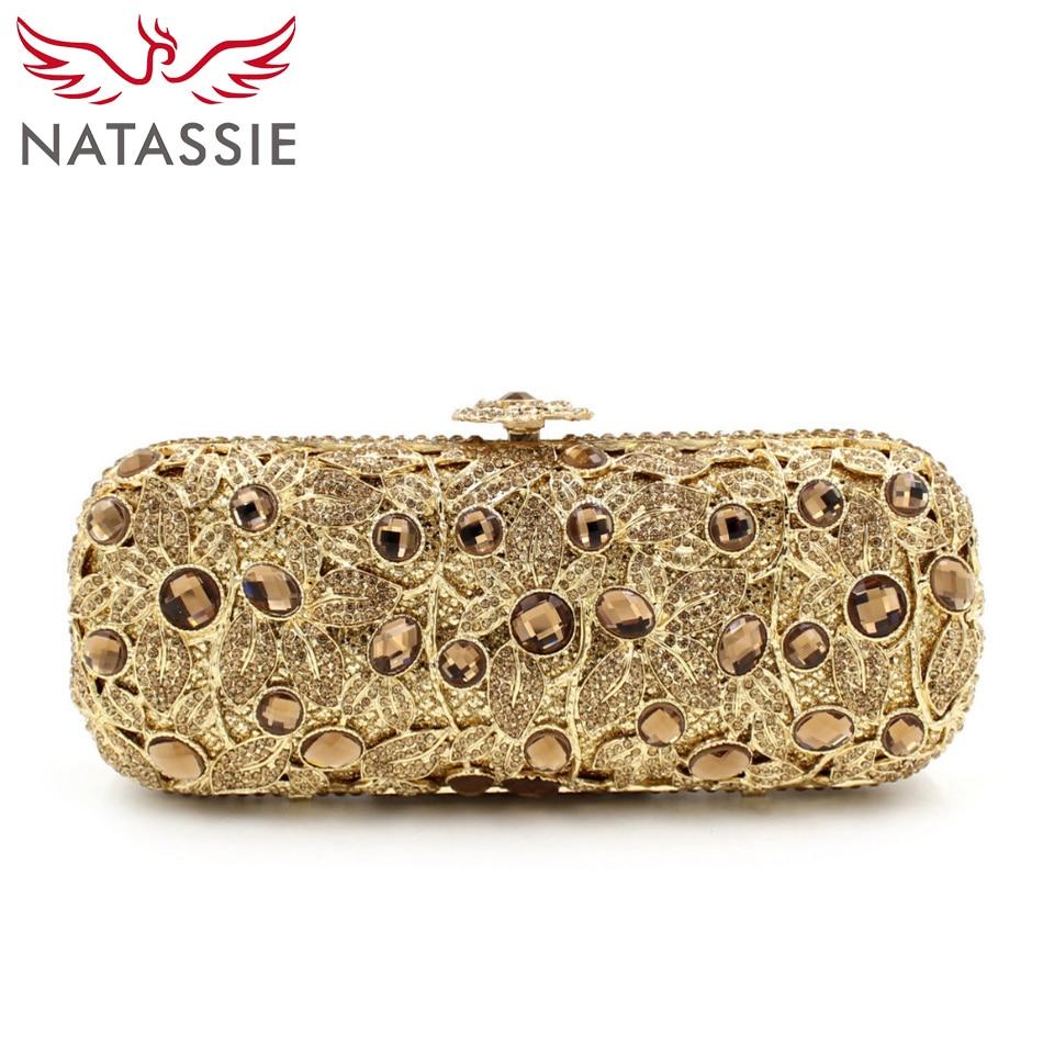 ФОТО NATASSIE Ladies Luxury Crystal Clutch Bags Women Wedding Clutch Purses Evening Clutches Free Shipping Gold L1063