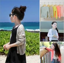 Single Breasted Summer thin cardigan Coat Ultraviolet-proof Long Sleeve Cool and breathable Girls Clothes All-Match V-Neck SO118