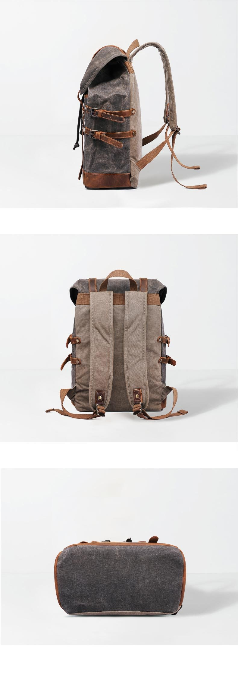 Rostock canvas & leather Vintage Style Backpack