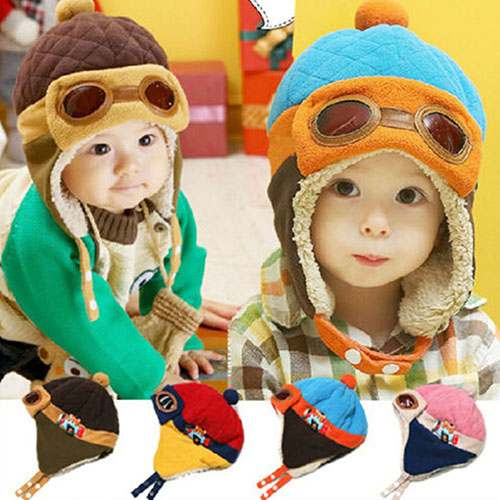 2016 Winter Baby Earflap Toddler Girl Boy Kids Pilot Cap Warm Soft Beanie Hat  8M9U 2016 winter new soft bottom solid color baby shoes for little boys and girls plus velvet warm baby toddler shoes free shipping