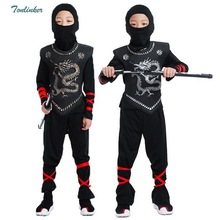 Boys Black Martial Ninja Clothes Suit Halloween Cosplay Warrior Stage Kids Christmas Samurai Costumes Swordsman Costume
