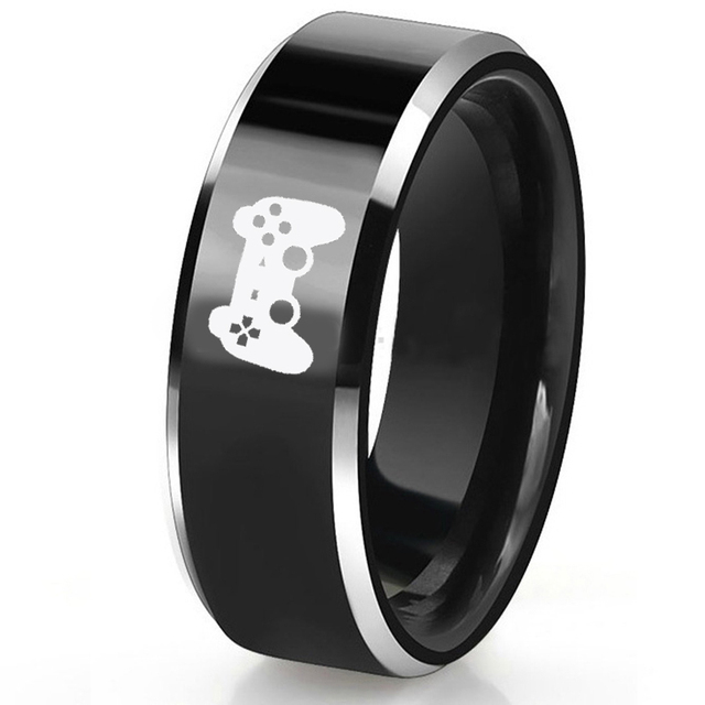 344ea04d0a9d ... para los hombres diseño especial. Free Custom Engraving 8MM Black  Tungsten Carbide Rings Controller Game Player Hobby Rings For Men Special