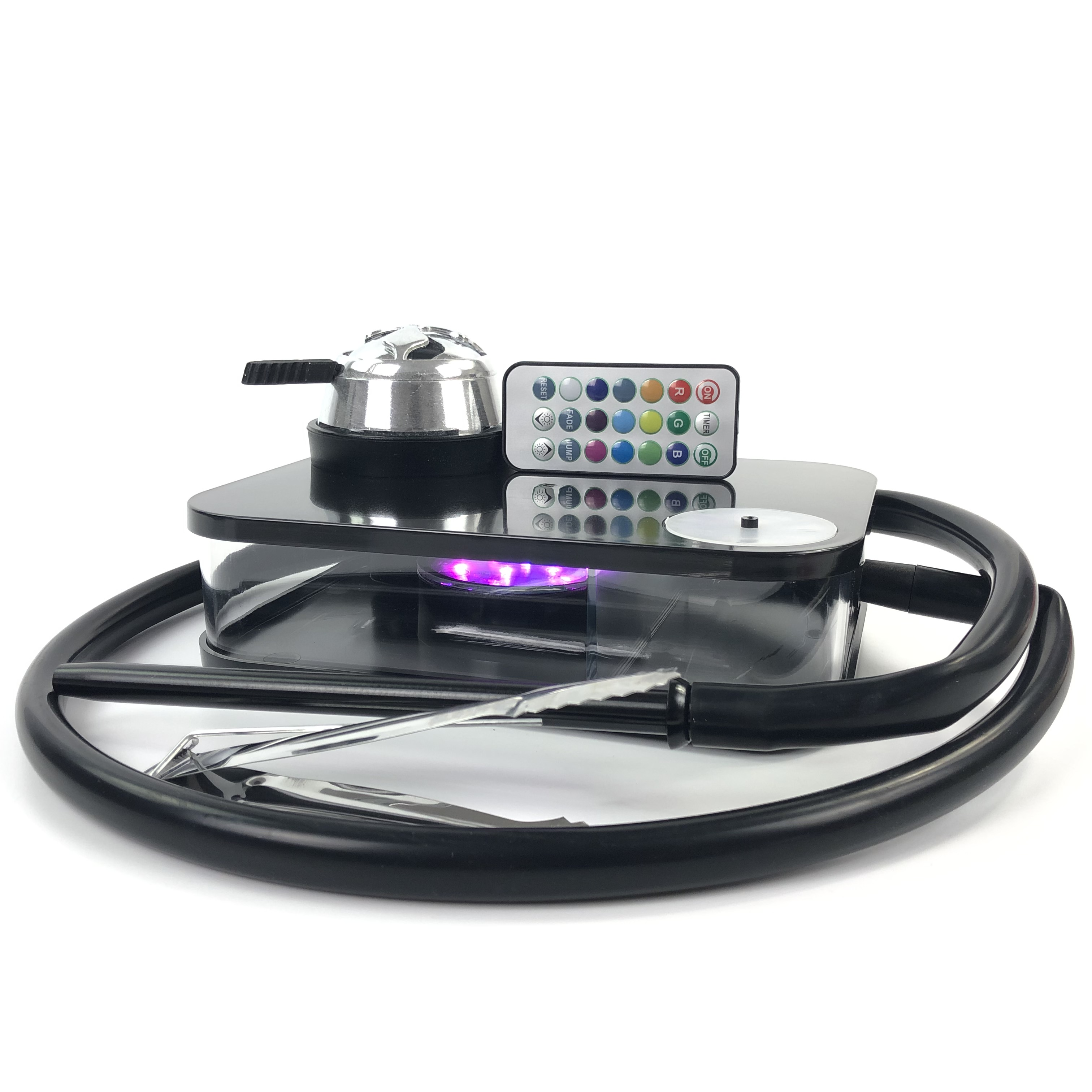 Modern Acrylic Hookah Shisha Black Narguile Nargile Smoking Water Pipe With LED Light factory wholesale Drop Shipping Gift