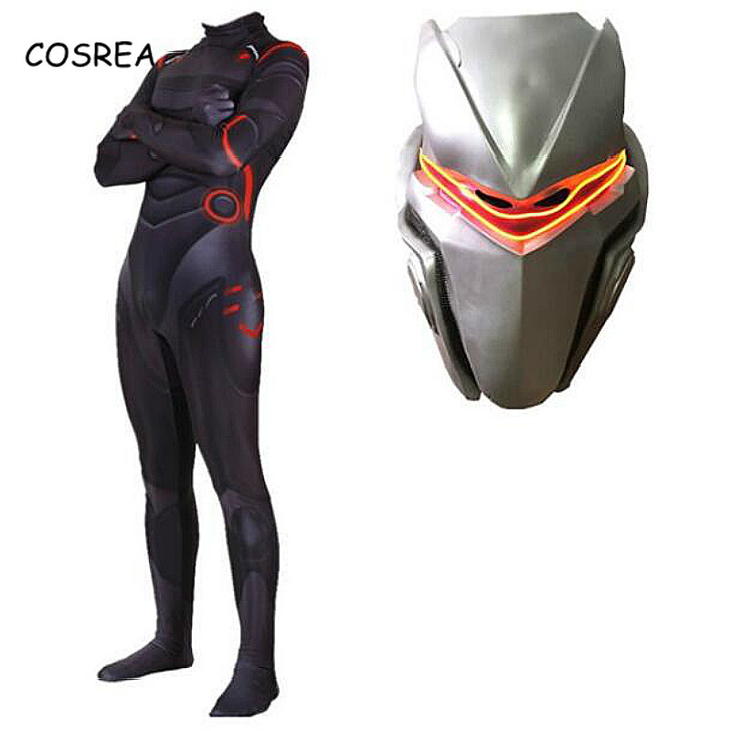 Game Cosplay Costume Omega Oblivion link Zentai Bodysuit Suit Jumpsuits Led Mask Halloween Christmas Party for Adult Kids