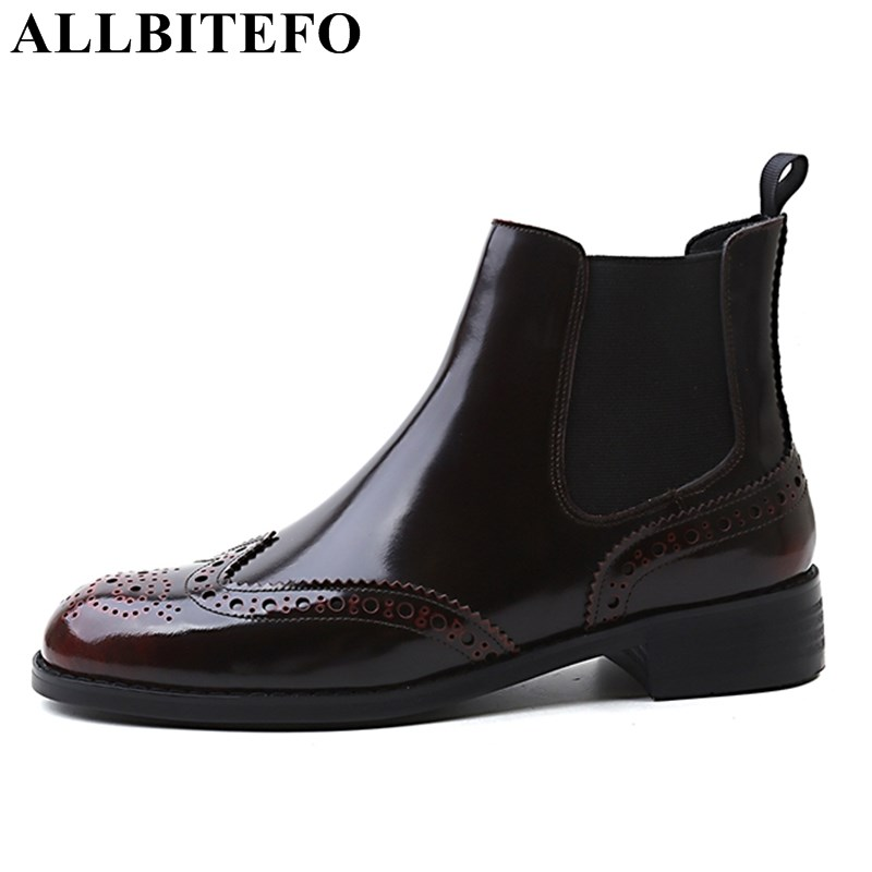 ALLBITEFO fashion brand genuine leather women boots low heel platform ankle boots High quality Autumn winter martin boots shoes lin king womens faux leather ankle boots platform high heel booties for women fashion buckle winter dress shoes martin boots